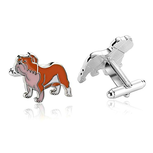 Aooaz Jewelry Cufflinks Lovely Painted Dog S Shirt Novelty Orange B Stainless Steel Cufflink For (Sterling Silver Button Covers)