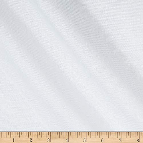 Quality Linen 100% European Linen Scrim Fabric, White, Fabric By The Yard ()
