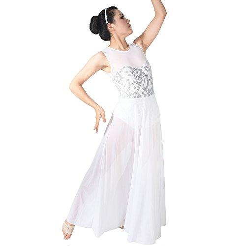 MiDee Floral Sequin Tank Leotard Maxi Skirt Lyrical Dress Dance Costume (LC, White) (Dance Costumes Performance Wear)
