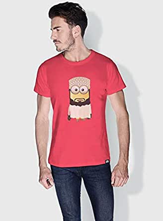 Creo Oman Minions Round Neck T-Shirt For Men - Pink, Xl