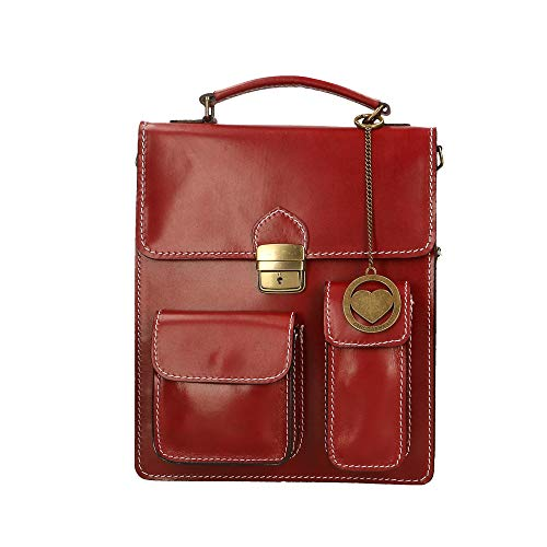 Shoulder In Italy 27x32x10 Organizer Cm Made Briefcase Bag Small Chicca Genuine Leather Borse Red SYRqI