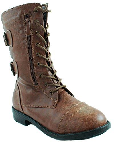 Com casual boot 002 de comodo con tipo Bota en liso mujer Brown militar decoracion hebilla Botin 6q1EwUx