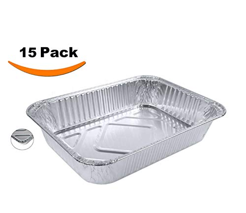 (Aluminum Foil Pans - Set of 15 Pack, Disposable Steam Table Grill Drip Deep Trays, Meal Cooking, Baking, Roasting, Broiling, Heating Buffet Trays Tin Pans. Half Size Chafing Pans 8.5 X 6 X 1.5 inch)