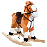 Qaba Kids Rocking Horse Child Plush Ride on Toy Moving Mouth & Tail with Realistic Sound Red Brown