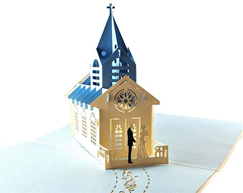 iGifts And Cards Beautiful Wedding Chapel 3D Pop Up Greeting Card - Religious, Marriage, Church, Bride, Groom, Gift, Cathedral, Half-Fold, Love, Special Days, Wedding, Just Because, Engagement, Blue