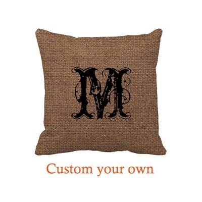 Automaket Rustic Pattern Black Monogram - Shabby Chic Throw Pillow Covers 18in -