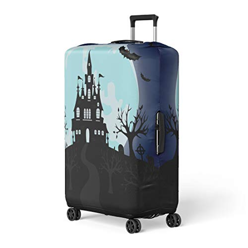 Pinbeam Luggage Cover Old Gothic Cemetery Iron Gate and Lantern Halloween Travel Suitcase Cover Protector Baggage Case Fits 22-24 -