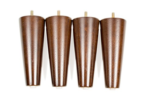 MJL Furniture Designs Mid-Century Style Wooden Replacement Furniture Short Round Leg with Threaded Pin (Set of 4), Walnut Finish, 7