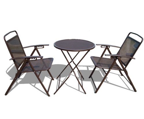 Strong camel bistro set patio set table and chairs outdoor for Wrought iron cafe chairs