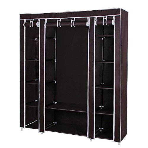 songmics-59-portable-clothes-closet-wardrobe-non-woven-fabric-storage-organizer-dark-brown-ulsf03k