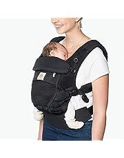 Ergobaby Babydrager voor pasgeborenen vanaf de geboorte, 3-in-1 Adapt Cool Air Mesh babybuikdrager, rugdrager, onyx zwart, BCPEAPBLK
