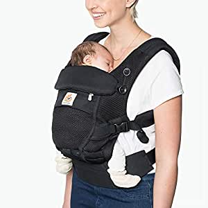 Ergobaby Adapt Ergonomic Multi-Position Baby Carrier with Cool Air Mesh (7-45 Pounds), Onyx Black