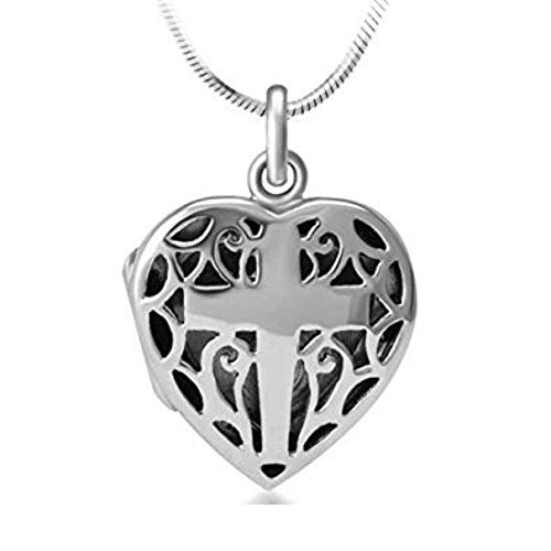 Open Filigree Heart - 925 Sterling Silver Open Filigree Christian Cross Heart Shaped Locket Pendant Necklace, 18 inches