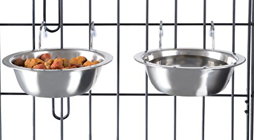 Water Dish Set (Stainless Steel Hanging Pet Bowls for Dogs and Cats- Cage, Kennel, and Crate Feeder Dish for Food and Water- Set of 2, 8 oz Each By PETMAKER)
