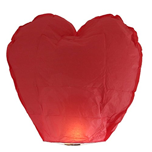 Sky Lanterns 10 Pack Chinese Lanterns Eco Friendly 100% Biodegradable Environmentally Friendly Ready to Use Wire Free Wishing Lanterns for Weddings, Birthdays, Parties (Heart Red) by HDE