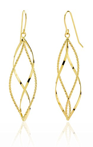 14k Yellow Gold High Polished and Diamond Cut Twisted Pointing Oval Drop Earring for Women and Girls by SL Gold Imports