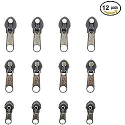 Sungrace 12 Pcs Universal Fix Zipper Repair Replacement Zip Slider(Gray)