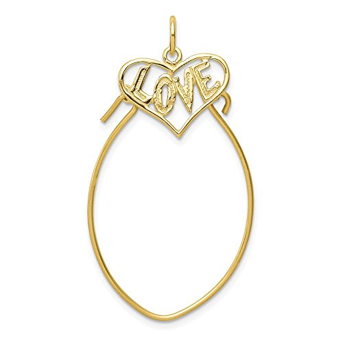 3 Asha Stone - 10k Yellow Gold Filigree 3 D Heart Pendant Charm Necklace Holder Fine Jewelry Gifts For Women For Her