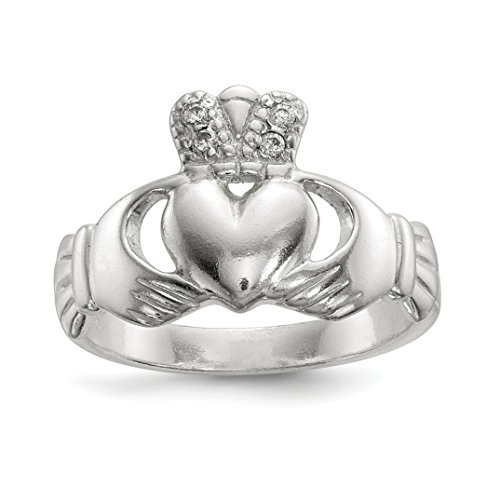 ICE CARATS 925 Sterling Silver Cubic Zirconia Cz Irish Claddagh Celtic Knot Band Ring Size 8.00 Fine Jewelry Gift Set For Women Heart