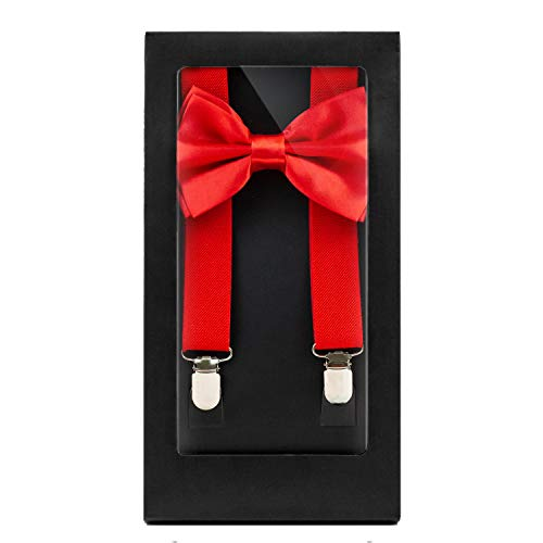 Y-Back Suspenders and Bow Tie Matching Set, Pre-Tied, Clip Design, Elastic, Adjustable Straps, Classic | Great for Weddings,Parties,Graduations, Theme Party | Nice&Unique Gifts for Men (Red) -