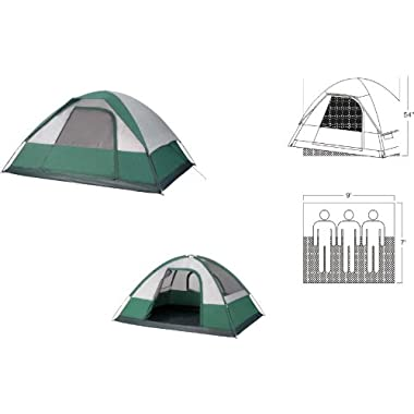GigaTent Liberty Mountain Free Standing Family Dome Tent, 9 x 7-Feet x 54-Inch