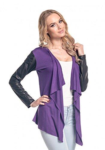 Glamour Empire para mujer Abrigo chaqueta cascada manga de cuero sintético. 098 Púrpura