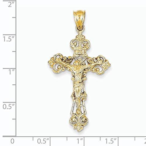 14 carats Fleur de lis INRI Crucifix Pendentif-mesures 46,3 JewelryWeb x 60 mm