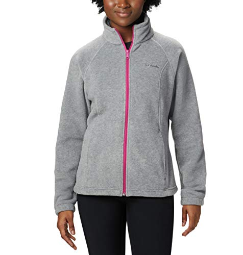 - Columbia Women's Benton Springs Classic Fit Full Zip Soft Fleece Jacket, Light Grey Heather/Fuchsia, X-Small