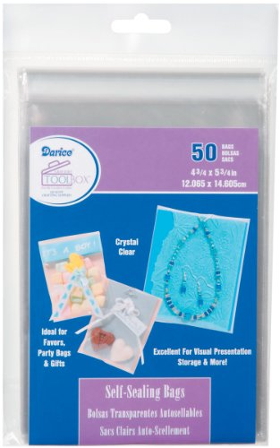 Darice 1115-23 50/Pack Plastic Self Sealing Bags, 4-3/4 by 5-3/4-Inch, Clear