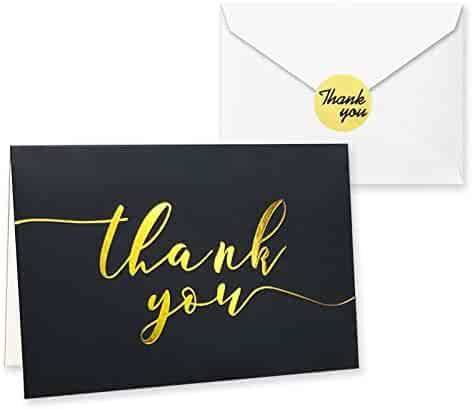 100 Thank You Cards in Black with Envelopes and Stickers - Highest Quality Elegant Bulk Notes Embossed with Gold Foil Letters for Weddings, Graduations, Engagements, Business, Formal, Baby Shower, 4x6