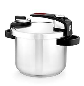 BRA Tekna - Olla a Presión Rápida, Apta para Todo Tipo de Cocinas, Incluido Inducción, 7 Litros, Acero Inoxidable, Gris