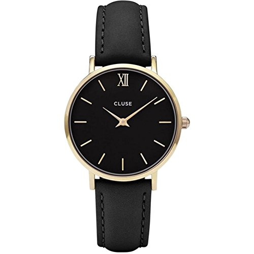 33mm Black Leather Band Metal Case Quartz Analog Watch CL30004 ()