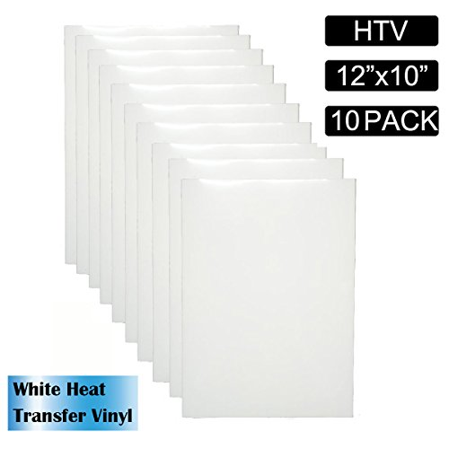 White Heat Transfer Vinyl, CBTONE 10 Pack 12''x10'' Sheets Iron on HTV for T-Shirts, Hats, Clothing, Pattern and DIY Craft for Cricut, Silhouette Cameo Or Heat Press Machine by CBTONE