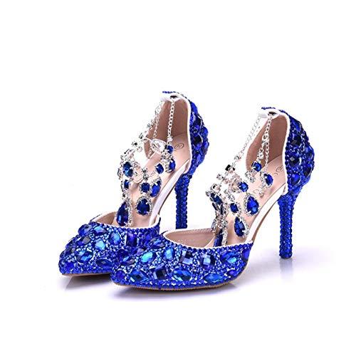 Ankle Ankle Crystals Crystals Crystals Ladies Sposa 6 Blue Dimensione Beading da Rhinestone UK Matrimonio Scarpe ZHRUI Chains Colore qdFETIWwIx