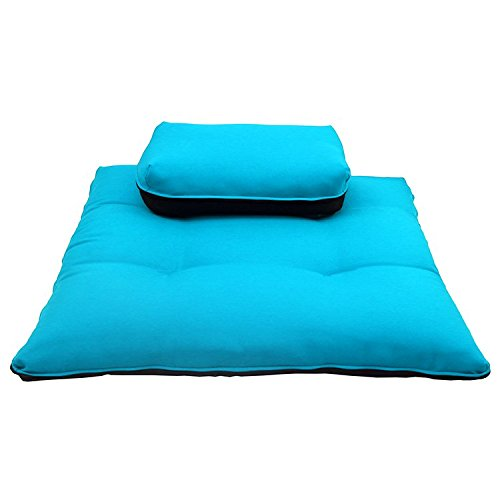 Magshion* Meditation Zafu & Zabuton Set, Cushions, Traning, Exercise, Yoga Mats- 2 Sizes (Sky Blue, Rectangle 3