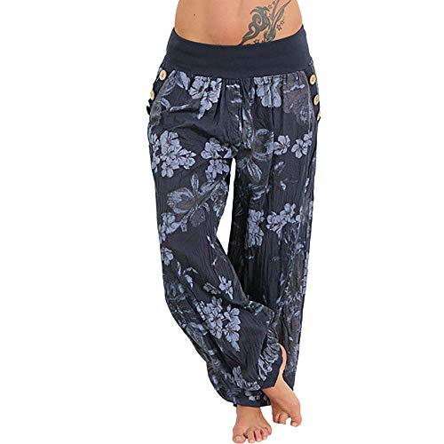 Haozin Womens Floral Print Long Pants Elastic Waist Wide Leg Trousers Casual Loose Harem Pants (XL, Navy)