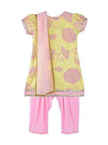 (K&U Girl's Yellow & Pink Floral Print Salwar Kurta Dupatta Set)