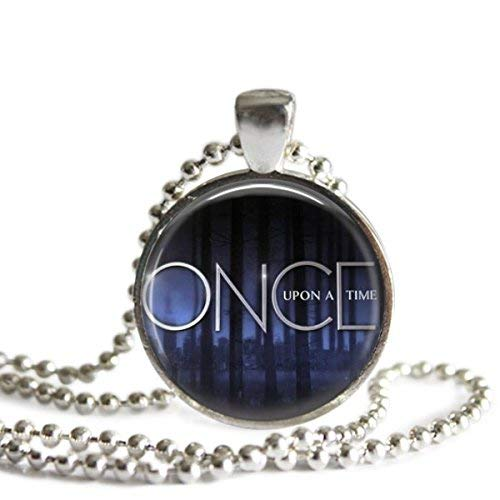 Once Upon A Time 1 Inch Silver Plated Pendant Necklace or Keychain (Once Upon A Time Hook And Belle)