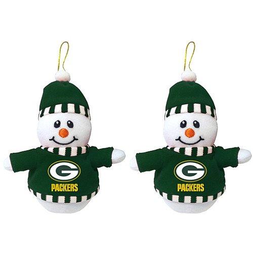 Topperscott Green Bay Packers Plush Snowman Ornaments- Set of -
