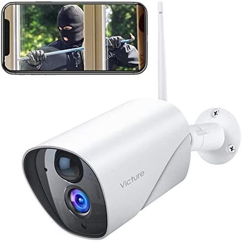Victure 1080P Outdoor Security Camera IP65 Weatherproof Home Surveillance IP CCTV Camera 2.4G WiFi with Smart PIR Motion Detection Night Vision Two Way Audio Compatible with iOS Android Systerm