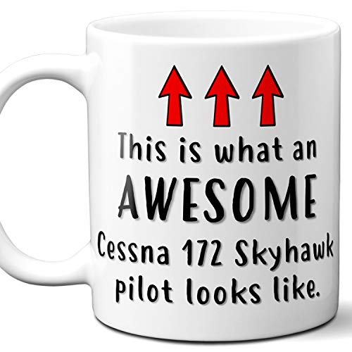 Airplane Pilot Gift Coffee Mug, Cup. Cessna 172 Skyhawk This is What An Awesome Pilot Looks Like. Ideal for Birthday, Christmas, Father's Day, Mother's Day.11 oz. ()