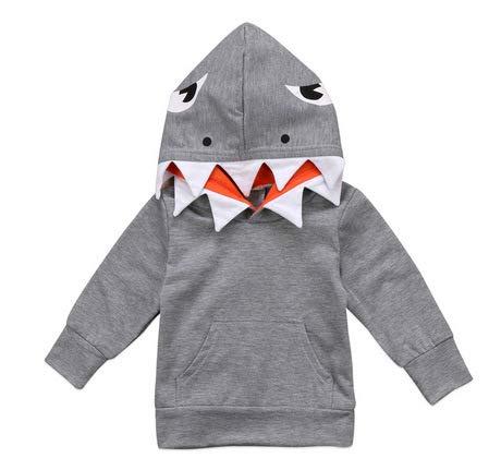 C&M Wodro Unisex Baby Autumn Winter Shark Hooded Sweatshirt Boys Girls Hoodies Kangaroo Muff Pockets & Shark Fin (Gray-Top, Size 100: 1-2 Years)]()