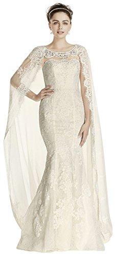 Sample: As-is Oleg Cassini Boatneck Wedding Dress Style AI14020102, Ivory, 6