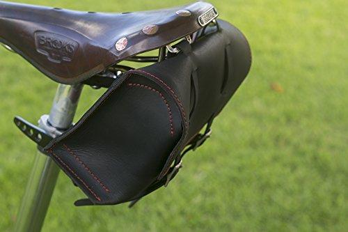 Große Fahrrad Tasche Sattel/Lenker/Rahmen Tasche in schwarz Leder Classic Tasche Roten Nähten