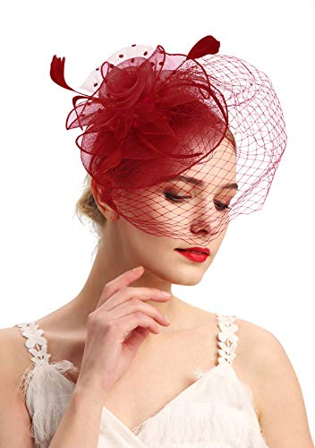 - Fascinators Hats 20s 50s Hat Pillbox Hat Cocktail Tea Party Headwear with Veil for Girls and Women(D-burgundy)