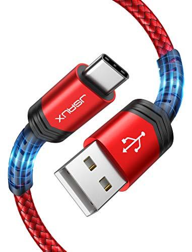 Cable USB tipo C 3A de carga rápida [paquete de 2 6.6 pies], JSAUX Cable trenzado de carga USB-A a USB-C Compatible con Samsung Galaxy S10 S9 S8 S20 Plus A51 A11, Note 10 9 8, controlador PS5, cargador USB C ( Rojo)
