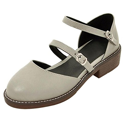 TAOFFEN Women's Classic Ankle Strap Sandals Shoes Gray