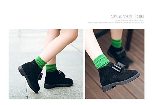 TPulling Mode Herbst Und Winter Warm Mädchen Elastische Banded Lederstiefel Martin Anti-Rutsch Schuhe Stiefel Schwarz