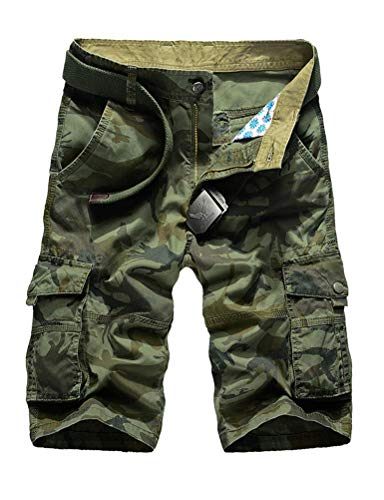 IDEALSANXUN Men's Casual Loose Fit Multi-Pockets Military Cargo Shorts (#2 Army Green, US 34)
