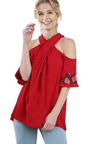 Silk Flutter Sleeve Top - Umgee Bohemian Halter Neck Floral Embroidered Flutter Sleeve Top (Medium)